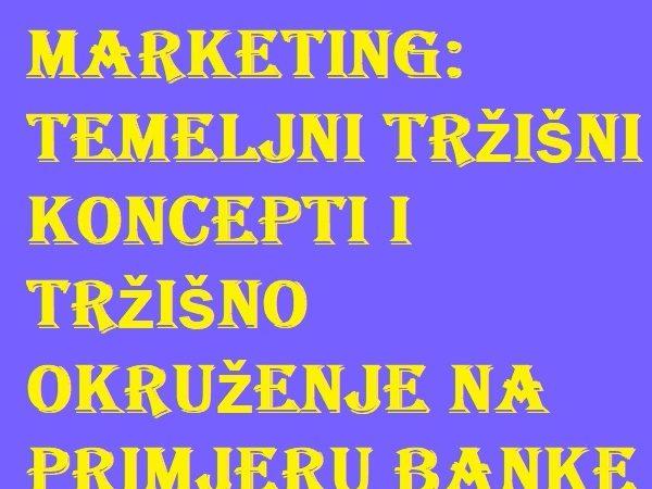 Marketing-Temeljni tržišni koncepti i tržišno okruženje na primjeru banke