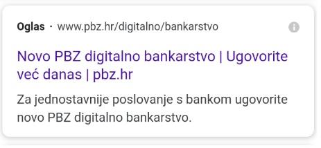 primjer adwords oglasa Banke za novu uslugu - izvor google.hr