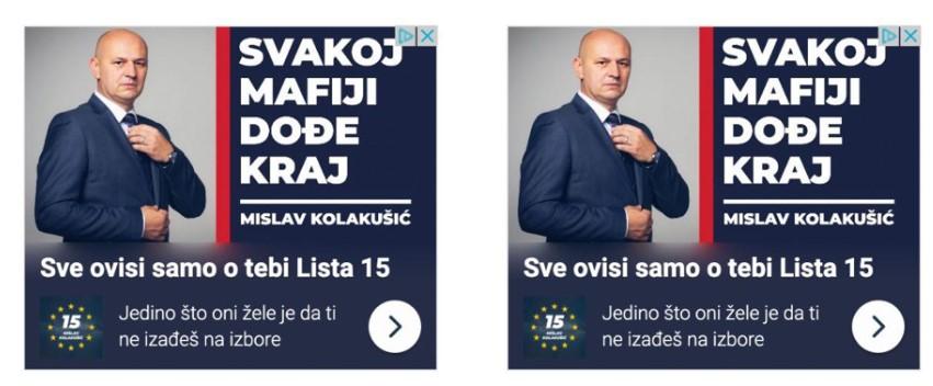 primjer oglasa s ciljanom porukom biračima